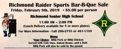 "RSHS athletics department to hold first ""Bar-B-Que"" lunch fundraiser Feb. 8"