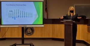 Richmond County Schools Finance Director Tina Edmonds reviews the budget proposal for the upcoming fiscal year Thursday to the Richmond County Board of Education.