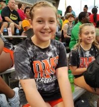 Emma Williams, a seventh grader at Rockingham, will cheer in the 2021 Youth Shrine Bowl of the Carolinas.