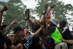Despite signs advising against it, many fans went crowd surfing during the three-day Epicenter Festival at Rockingham Dragway over the weekend.