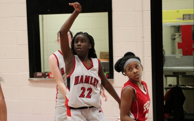 ROSports File Photo: Saquanna Bostic (22) scored a game-high 17 points in Hamlet's win over Carver.