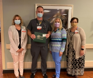 According to the nomination, Reid Heart Center nurse Joe Haralson was attentive and compassionate as he cared for this patient, helping her move from the bed to a chair to keep her comfortable and offering to keep family members informed about how she was doing.