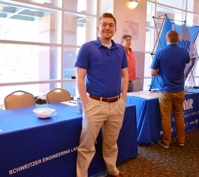 Electric Utility Substation & Relay Technology graduate Sandy Guinn was back at Richmond Community College recruiting for Schweitzer Engineering Laboratories during the Power the World Career Fair in March. Guinn was hired by SEL the semester before he graduated from the substation program in 2017.