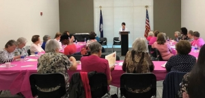 Tracey O'Neal, McLeod Breast Health navigator, provides information on breast cancer to attendees of the Breast Cancer Brunch and Learn event in Bennettsville, South Carolina, on Oct. 17, 2018.