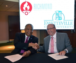 Dr. James A. Anderson, chancellor of Fayetteville State University, and Dr. Dale McInnis, president of Richmond Community College, recently signed an articulation agreement that will make earning a bachelor's degree in accounting more affordable and accessible.