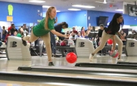 Senior Hailey Miller bowls a frame during her first game during Wednesday's SAC singles tournament, which saw her lead the team with a score of 453 pins.