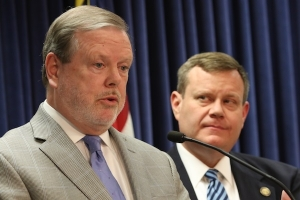 Senate leader Phil Berger, R-Rockingham, and House Speaker Tim Moore, R-Cleveland.