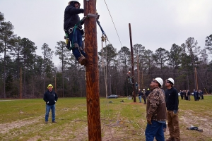 Local leaders who attended the Legislative Breakfast at Richmond Community College were given a tour of the new Electric Lineman program now being offered at the College.