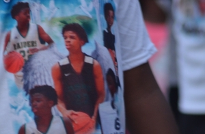 Several people wore T-shirts in memory of basketball player Jalen David at a balloon-release ceremony in his honor Wednesday at Falling Creek Park.