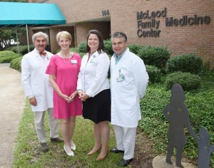 From left: Dr. Gerard Jebaily, McLeod Family Medicine Residency Program Director; Mib Scoggins, Administrator McLeod Health Cheraw; Rachel Gainey; Administrator, McLeod Health Clarendon; and Dr. Louis Strauss, McLeod Family Medicine Rural Track Residency Program Project Director