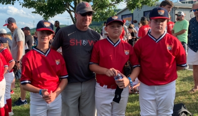 Landon Taylor, Dan Wright, Brooks Calhoun and Isaac Hinshaw during the 2019 Cooperstown Dreams Park Tournament.