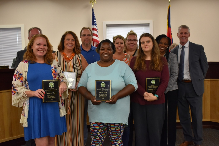 Volunteers with Richmond County Special Olympics were honored by the school board at Tuesday's meeting.