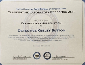 Rockingham detective honored by SBI for meth busts