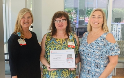 Christy Land, R.N., administrative director of quality and patient safety at MRH – Richmond; Tammy Brigman, R.N., clinical director of MRH-Richmond emergency department and Allison Duckworth, R.N., nursing executive for MRH – Richmond.