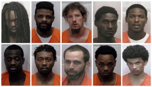 Ten detainees in the Richmond County Jail are charged for starting a riot on Sunday. Top row, from left: Anthony Spencer, Cedric Bell, Ronald Smith, Terek Ross and Stephon Easterling. Bottom, from left: Adrian Caldwell, David Boseman, John Grant, Timothy Streater and Jaylan Taylor.