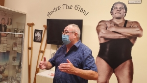 Former WWE referee Tim White talks about his time traveling with Andre the Giant during a visit to the exhibit at the Rankin Museum of American Heritage in Ellerbe on July 29.