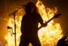 Flames burn behind Slayer bassist and frontman Tom Araya during the band's Raleigh stop on the final tour. See more photos on the RO's Facebook page.
