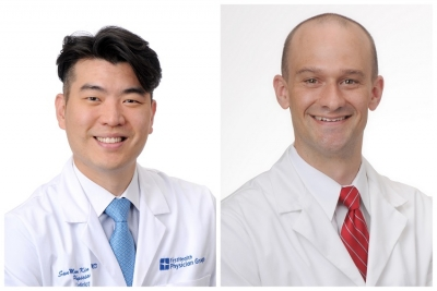 un Moon Kim, M.D., interventional and structural cardiologist with FirstHealth of the Carolinas; Stephen Davies, M.D., MPH, FirstHealth cardiothoracic surgeon.